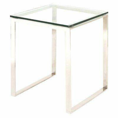 Intriguing Stainless Steel Glass Side Table