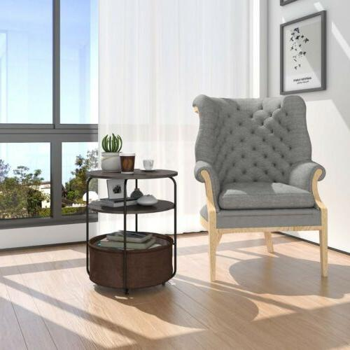 Round Side End Table with Fabric Basket