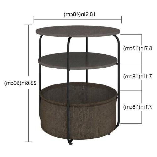 Round Side Table Fabric Storage Basket in