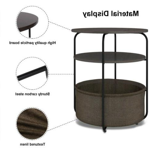 Round Side Table Basket in Nightstand