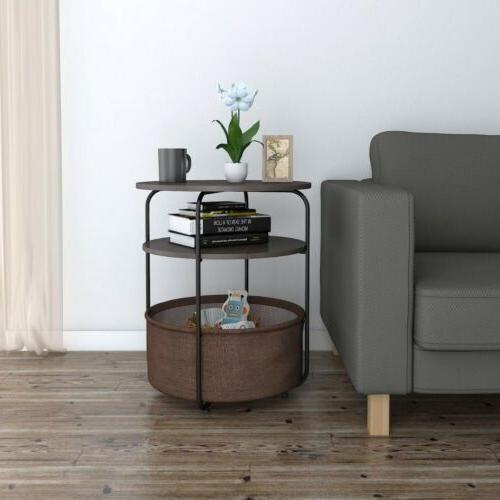 Round Side Table End Table with Fabric Storage Basket in Liv