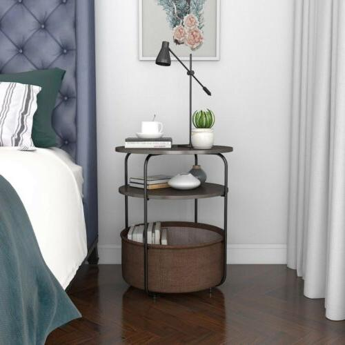 Round Table End Table with Storage Basket Livingroom, Nightstand