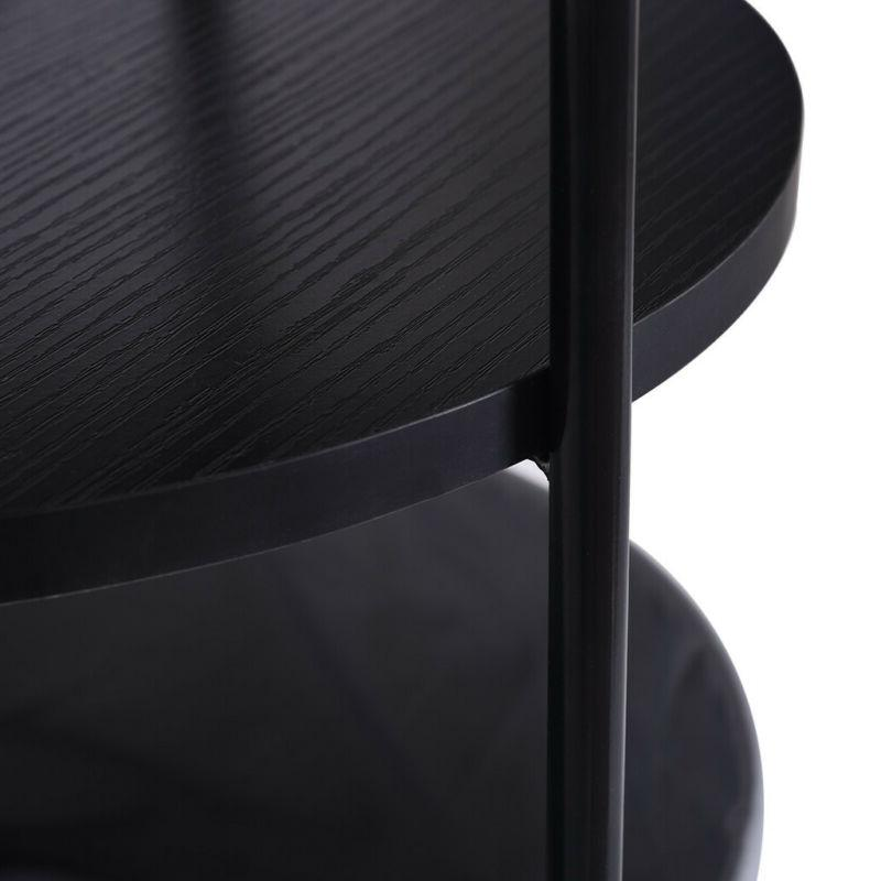 Living Room Wood Side Table with Fabric Storage Black Layer