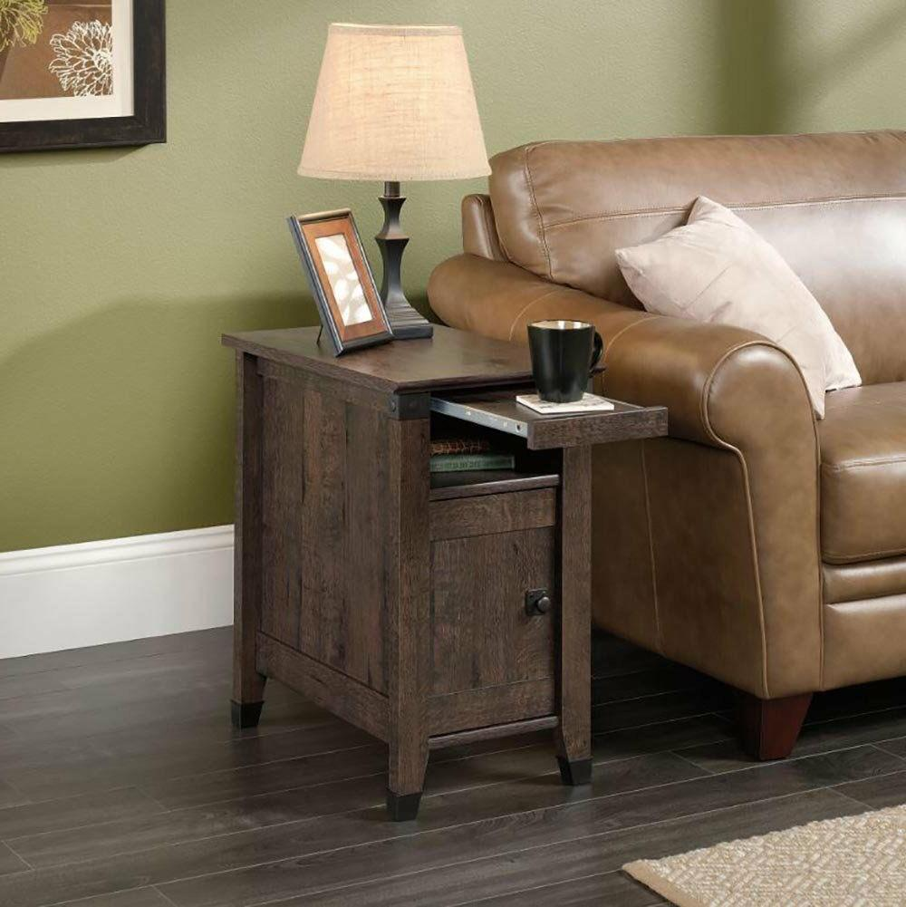 Living Room Side End Table With Storage Rustic Bedroom Woode