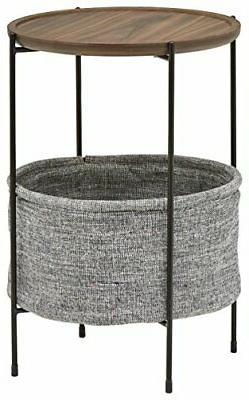 Rivet Meeks Round Side Table with Fabric Storage Basket, 24""
