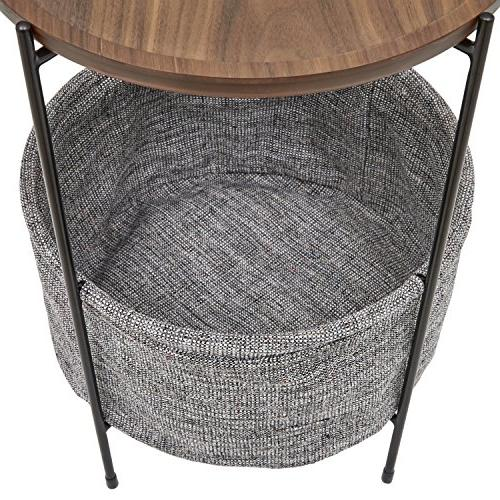 Rivet Round Storage Basket Side Table, and Grey