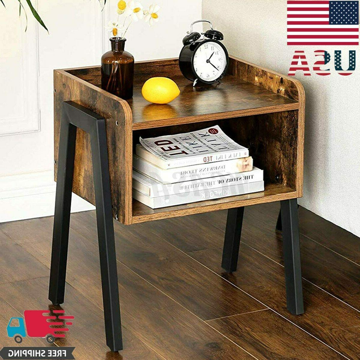 metal frame industrial round side end table