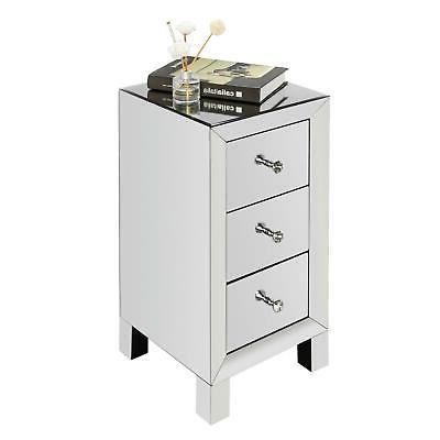 Mirrored Table Silver Glass Nightstand