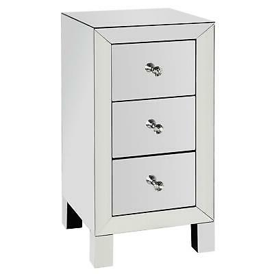 Mirrored 3 Drawer End Glass Nightstand