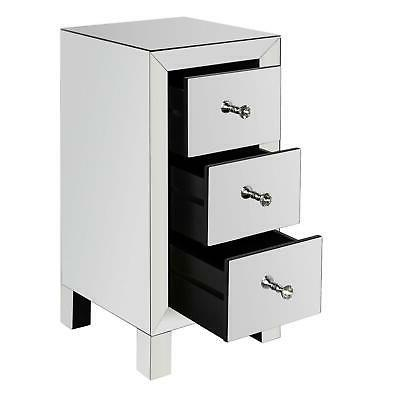 Mirrored 3 Drawer Table Sofa Table Silver Glass Nightstand Furniture