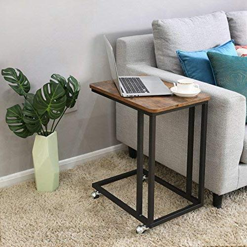 VASAGLE Snack Table, for Coffee Slides Couch, Look Furniture with and Casters