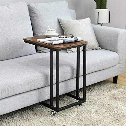 VASAGLE Vintage Snack Side Table, Table for Slides Sofa Couch, Wood Furniture and Rolling