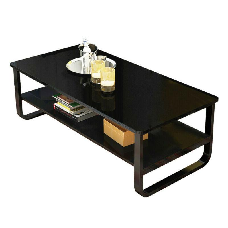 2 Tier End Coffee Table Shelves Furniture