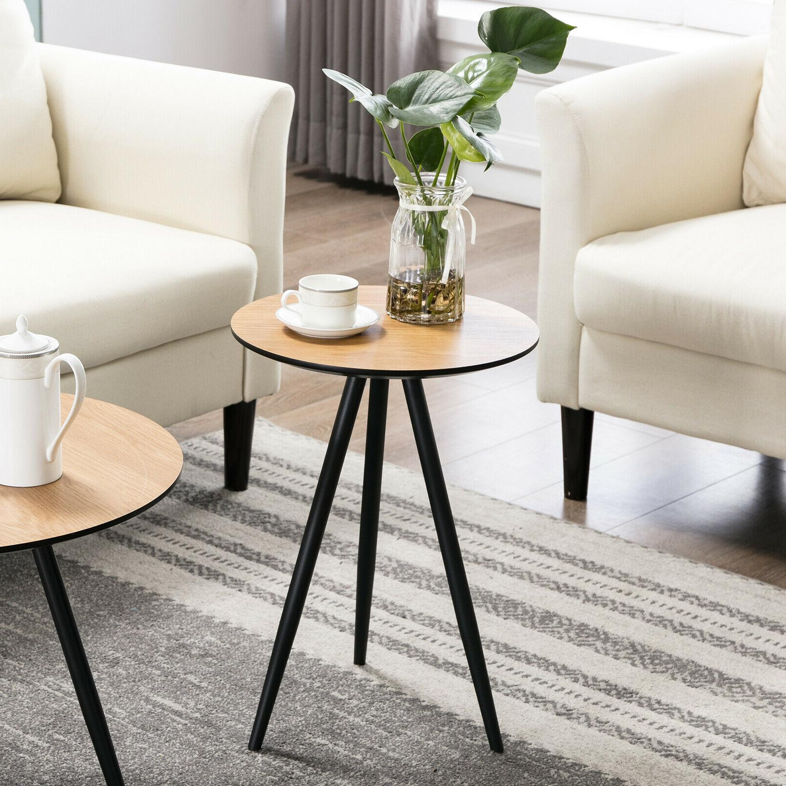 Modern Table Round Side Wood Living Room Home