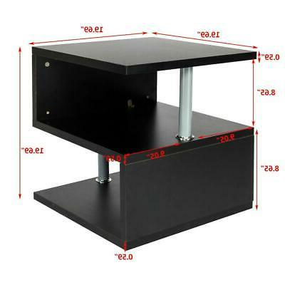 Modern Table Side End Table 2 Storage