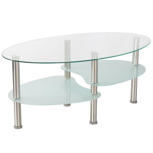 Modern Glass Oval Side Table Furniture