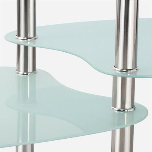 Modern Top Oval Side Table Chrome Base Room Furniture