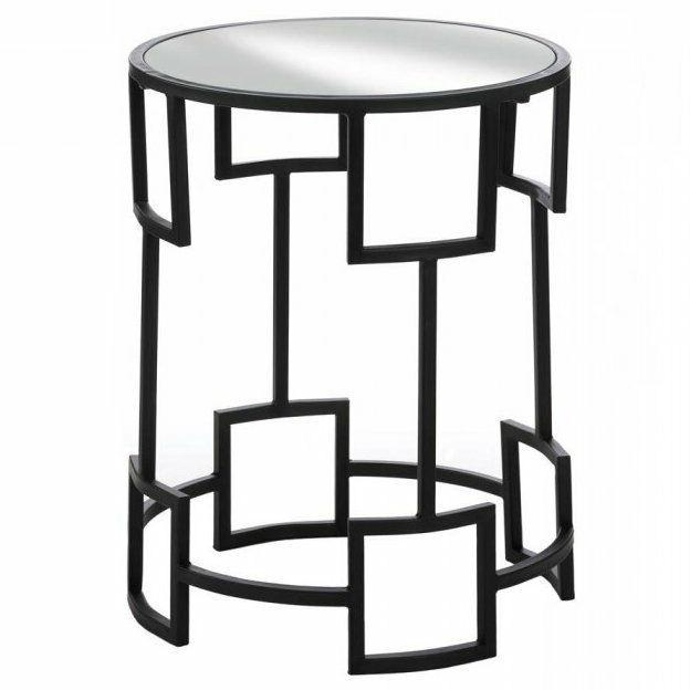 Modern Iron Accent Mirror-Top Round Side Table Geometric Con