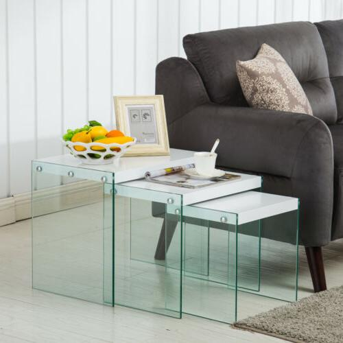 Modern Nest of 3 Coffee Table Side Table End Table Living Ro