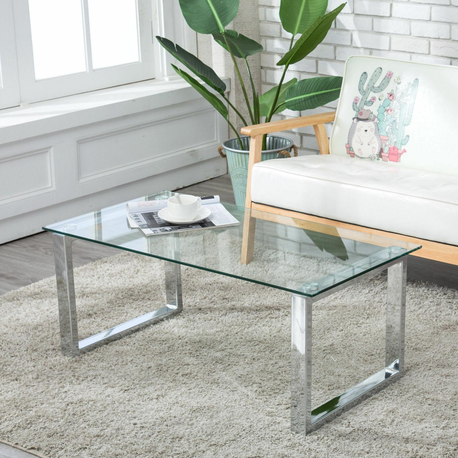 Modern Glass Chrome Coffee Table End Side w/ Shelves Living Room Furniture