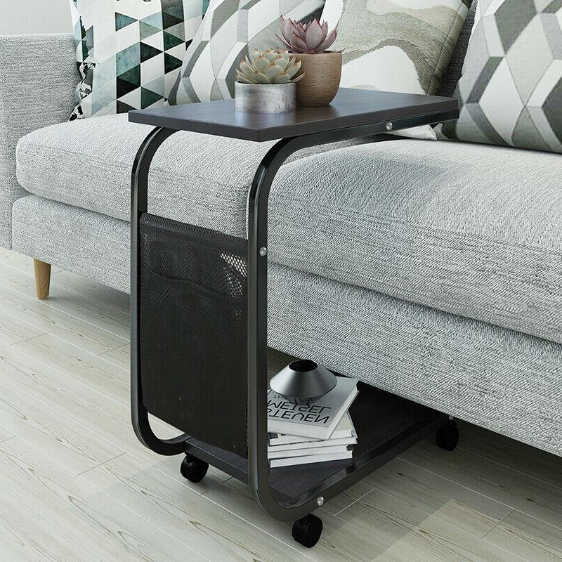 Modern Side Table Bed Table Storage Basket New