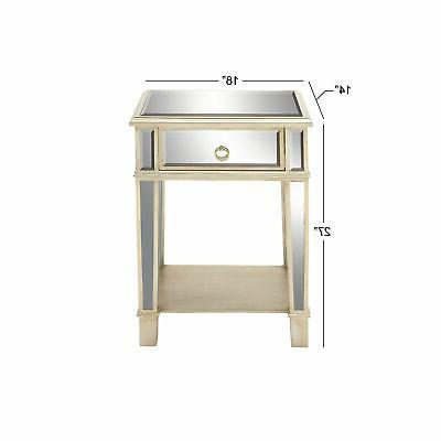 Zimlay Modern Accent Table Mirror And Drawer