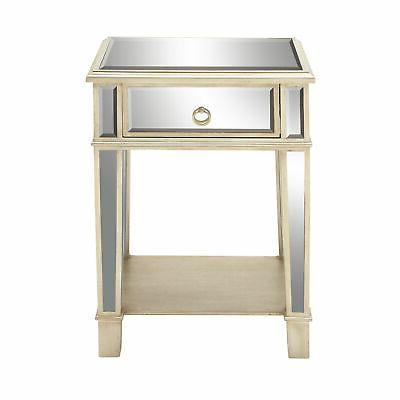 modern wooden accent table with mirror inlays