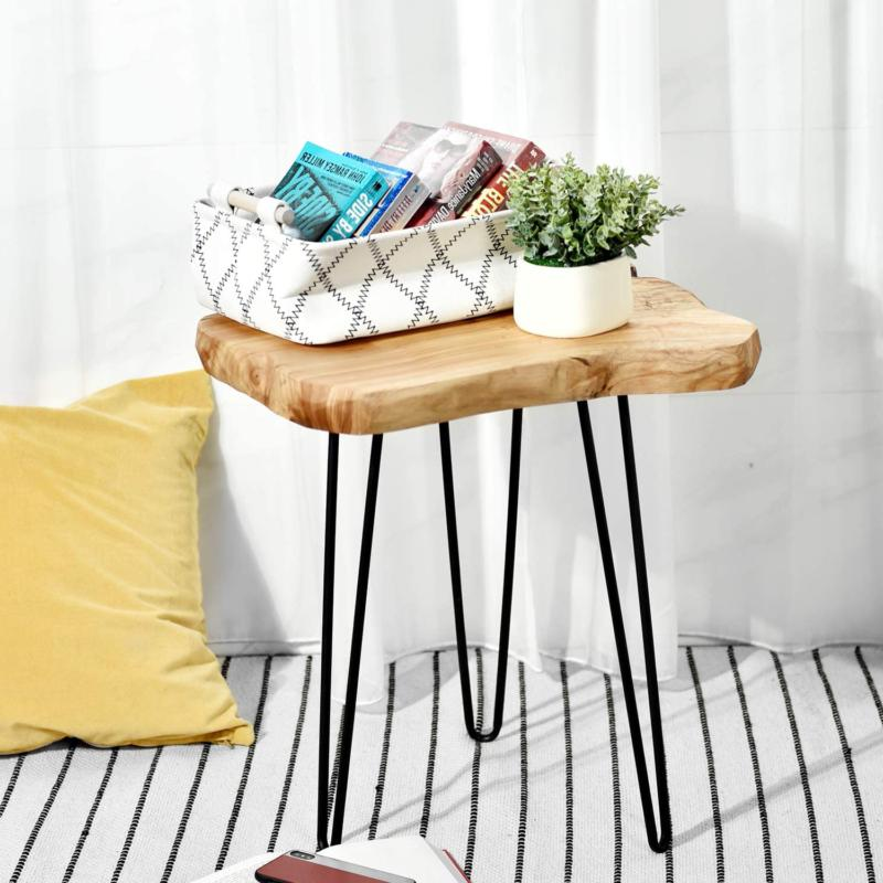 Natural Edge End Table, Wood Table, Nightstand, Plant