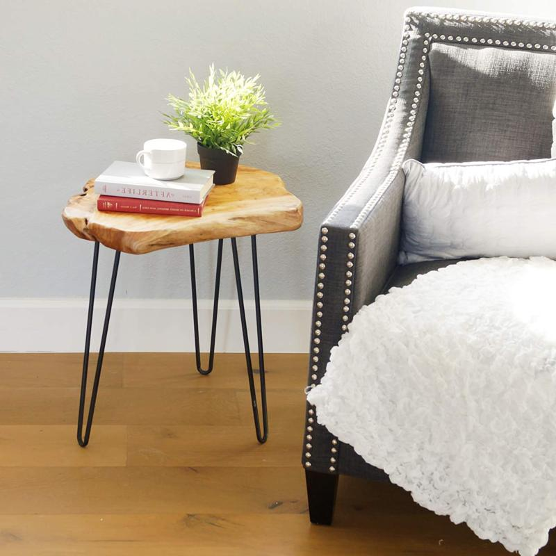 Natural Edge Table, Wood Side Nightstand, Plant