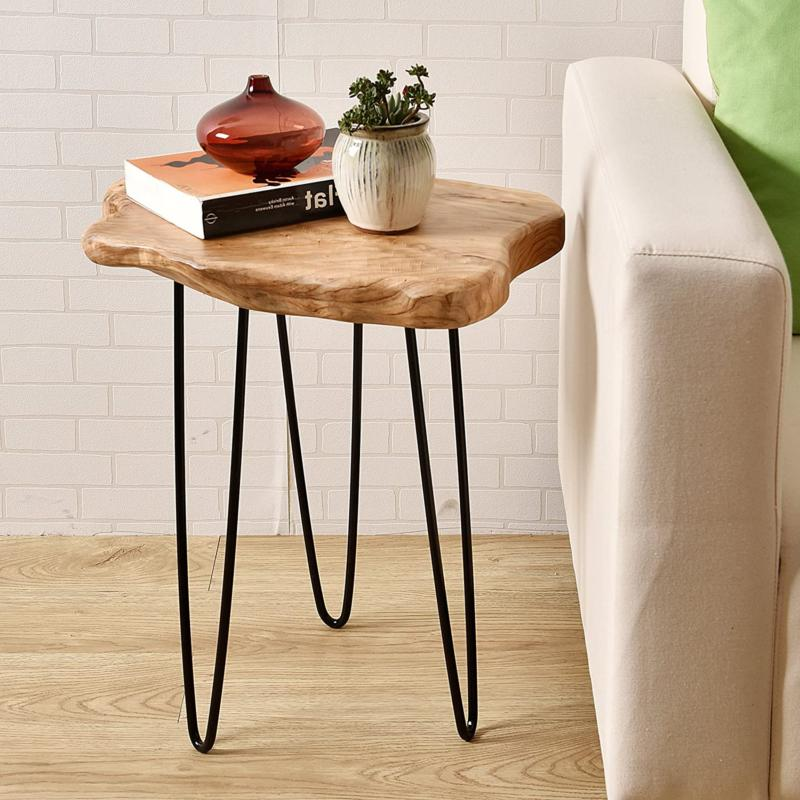 natural edge end table wood side table