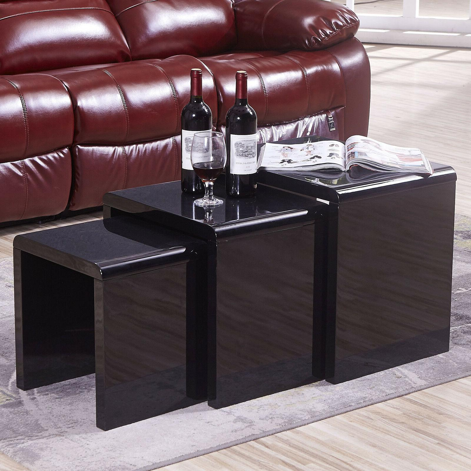 nest of 3 coffee table modern side