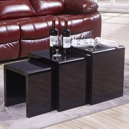Nest of 3 Coffee Table Modern Side End High Gloss Black Livi