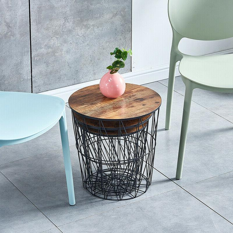 Nested Storage Basket Round Top Side Table Room Espresso