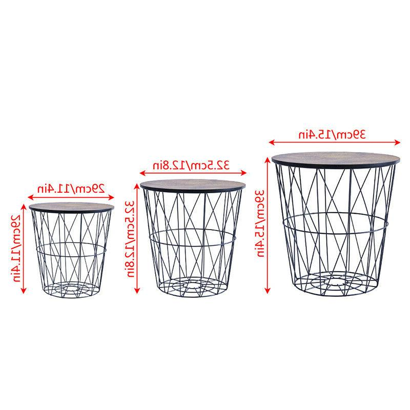 Nested Metal Wire Basket Round Side Espresso