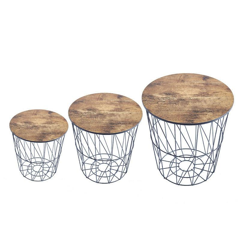 Nested Basket Round End Side Living Espresso