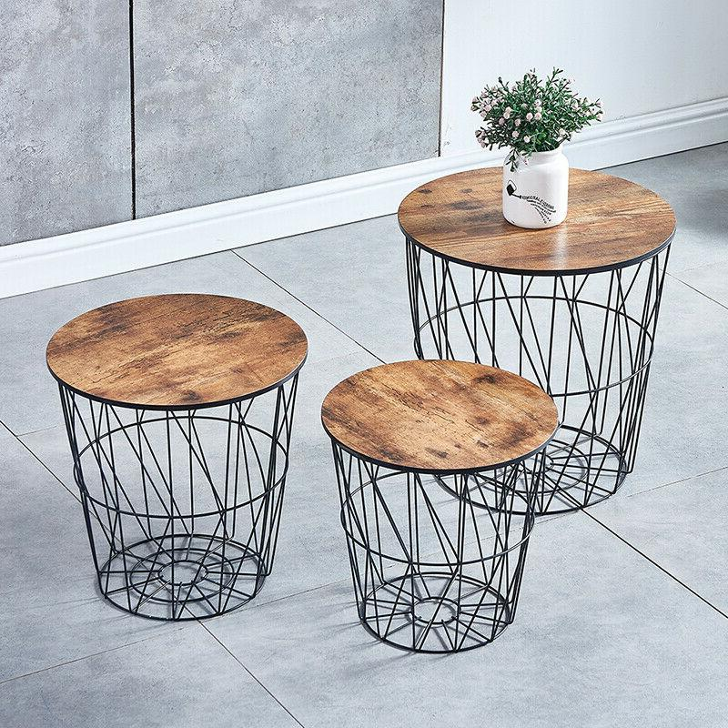 nested metal wire storage basket round top