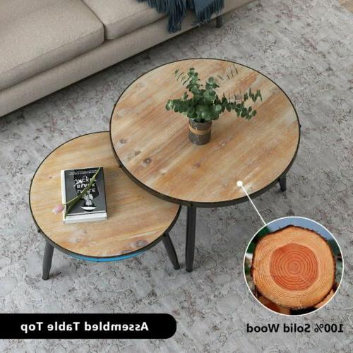 Round Nesting Set of 2 End Table Home Living Room Rustic Bro