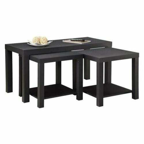 NEW 3 pc Black Color Accent Sofa Coffee Side Table End Table
