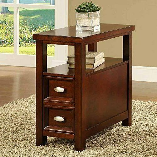 new crownmark dempsey chairside end table cherry