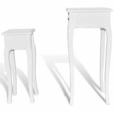 New Side Table Set Drawer White