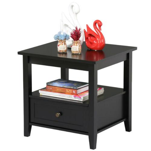 Nightstand End Table Accent Bed Modern Table Drawer
