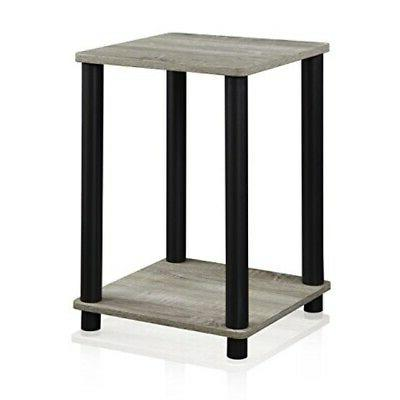 Oak Grey End Table Shelf Storage Living Room Home Furniture