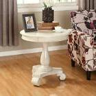 Roundhill Furniture OC0024WH Rene Round Wood Pedestal Side T