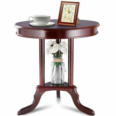 Round End Table Side Table Home Furnishing Accent Table Shel