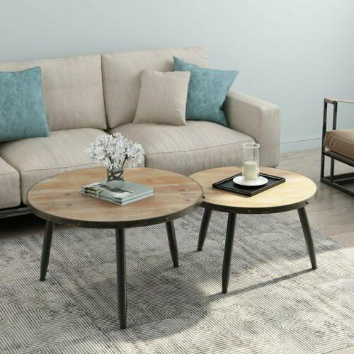 Round of 2 End Living Room Rustic Brown Coffee