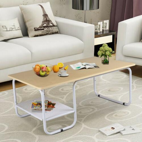 Round Rectangular Modern Tea Coffee Side Table Shelf with Lo