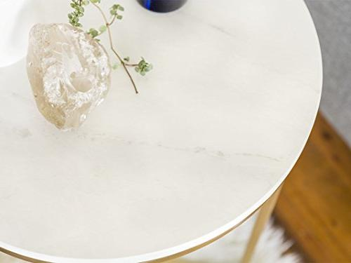 """WE Furniture 16"""" Round Side Table Faux Marble/Gold"""