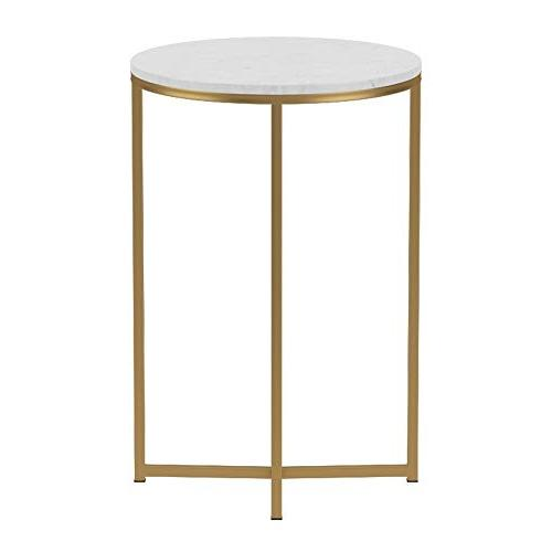 """WE 16"""" Round Side - Faux Marble/Gold"""