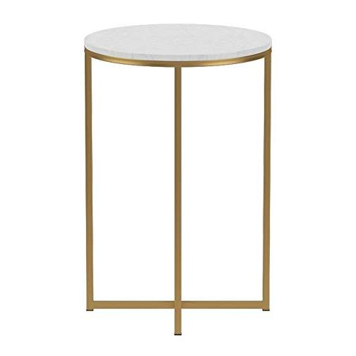 """WE Furniture 16"""" Side - Faux Marble/Gold"""
