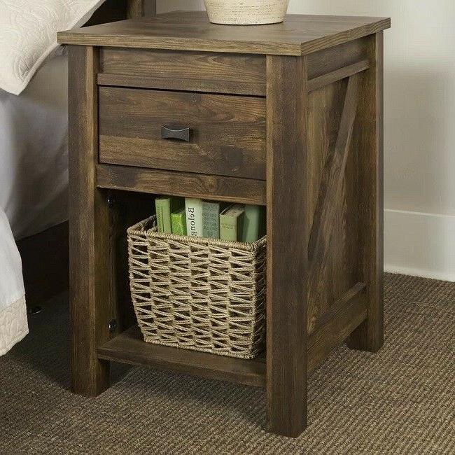 Rustic End Tables Side Table Nightstand Storage Wood Barn Be